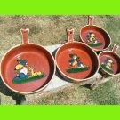 VINTAGE Mexican HAND PAINTED REDWARE POTTERY Pans Bowls