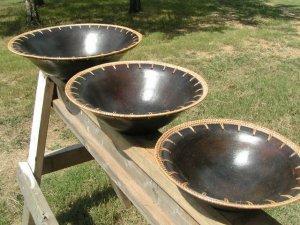 3 Indonesian HANDMADE LOMBAK Pottery WICKER Bowls ecrater