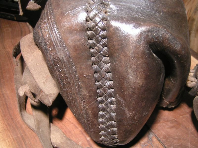 Antique Leather Horse Stirrup COVER Mexican Charro woven Tooled