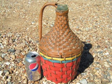 Woven Mexican Wine Bottle Jug Vintage Aqua Glass ec