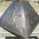 Brushed Tin Punch Lamp Shade Star Beads square Western EXTRA LARGE