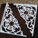 2 Cast Iron Braces Wall Shelf Island Architectural corbels brackets White ec