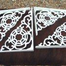 FOUR Cast Iron Braces Wall Shelf Architectural corbels brackets White ec