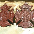 2 Cast Iron Firefighter Seal s Fireman Plaque Signs