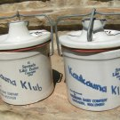 2 Old Kaukauna Klub Dairy Cheese Pottery Crocks with ORIGINAL LIDS