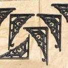 Six Cast Iron BLACK Braces Tiny Small Bracket Corbels 6 ec