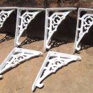 Six Cast Iron WHITE Braces Tiny Small Bracket Corbels 6 ec