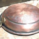 Old Copper collander strainer tin lined punch pattern ec