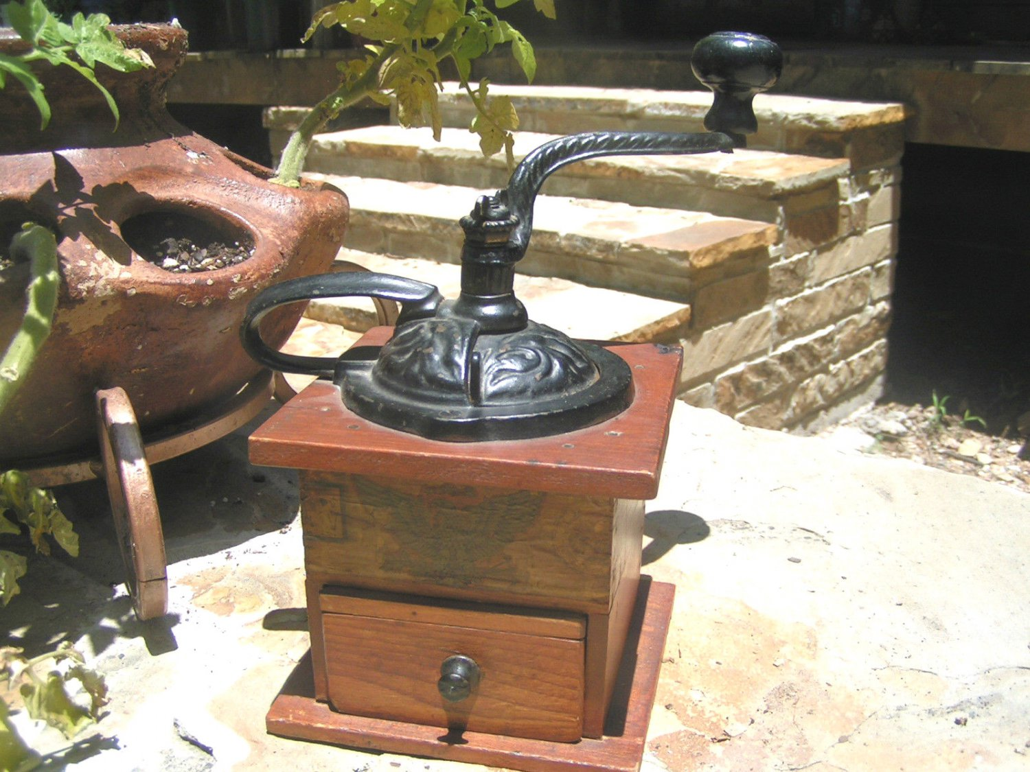 Primitive Old Wooden Dovetailed Coffee Mill Grinder