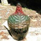 Old Woven Wicker Italian Wine Bottle Demijohn Jug GREEN glass 0737 ec