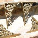FOUR (2 pair) Cast Iron Wall Shelf Brackets Corbel VICTORIAN Braces Gold Fleck