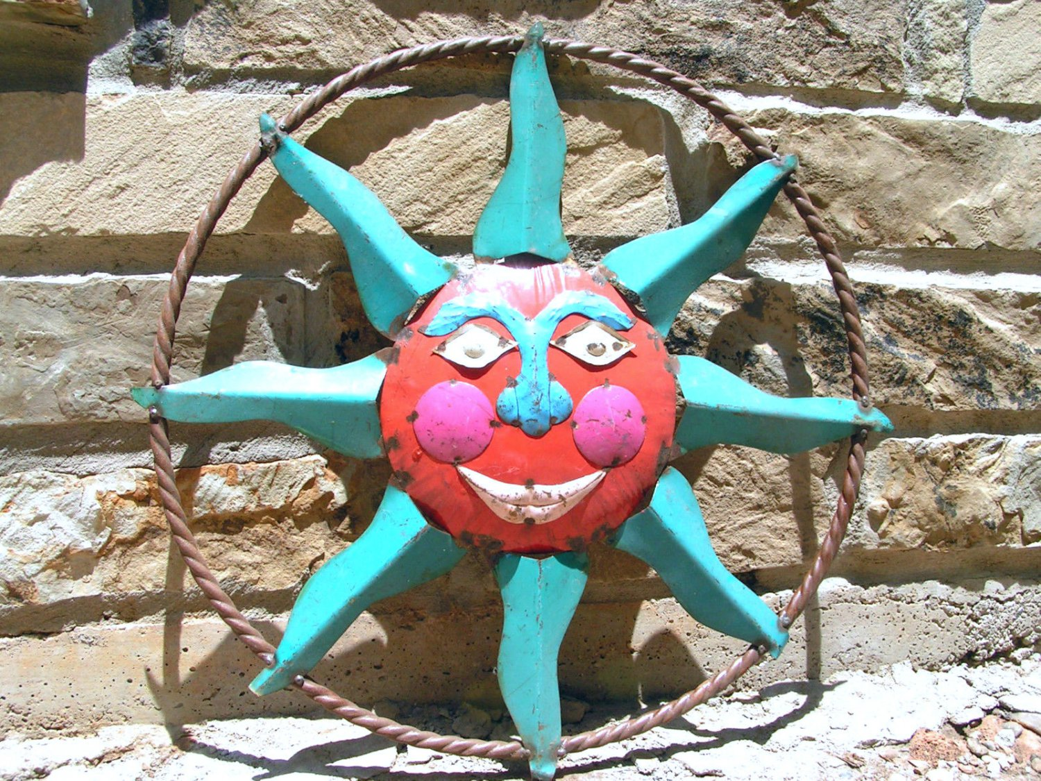 Upcycled junk iron sun face wall garden art sign 0643 ec for Upcycled garden projects from junk