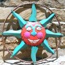 Upcycled Junk Iron Sun Face Wall Garden Art Sign 0643 ec