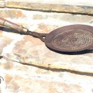 Primitive Old HAND FORGED Iron Wood handle Strainer Hang