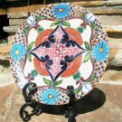 Mexican Talavera Hand Painted SIGNED Pottery Plate WITH Iron STAND 2319 ecr