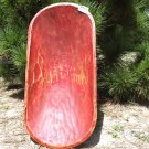 Primitive Wooden Dough Bowl Treenware Bread Trencher Hand Carved USA 0851 Red ec