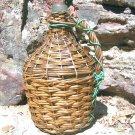 Old WOVEN WICKER Italian Wine Bottle DEMIJOHN Jug 0734 ec