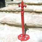 Red Paper Towel Holder Iron Fleur D Lis Heavy finial Ecrater