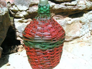 OLD Demijohn WICKER Italian Wine Bottle JUG 169 ecrater