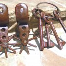 Cast Iron Rusty Mexican Pancho Spurs and Jail Keys DISPLAY Only ec
