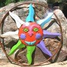 Recycled Junk Iron Sun Face Garden Metal Art Wall Sign 0912 ec