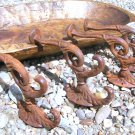 FOUR Cast Iron Wall Hooks Victorian Rusted ec