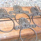 FOUR Cast Iron Wall Towel Rings Curtain Tie Backs ties