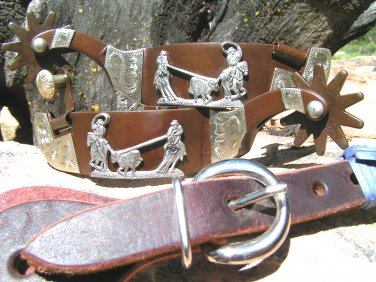 Cowboy Western Men's boot spurs WITH Leather Straps ec