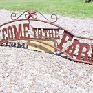 Metal Welcome to the FARM Sign for Wall Entry Gate 44 3/4 inch ec