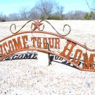 Metal Welcome to our HOME Sign Wall Entry Gate EXTRA LARGE 56 1/2 inch ec