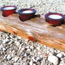 Rustic candle holder Complete set made from Western red cedar log ec