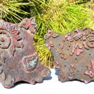 Pair of Old Hand Carved Fabric Stamping Ink Blocks Nepal 0299 0300 ec