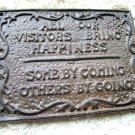 Cast Iron VISITORS sign plaque ec