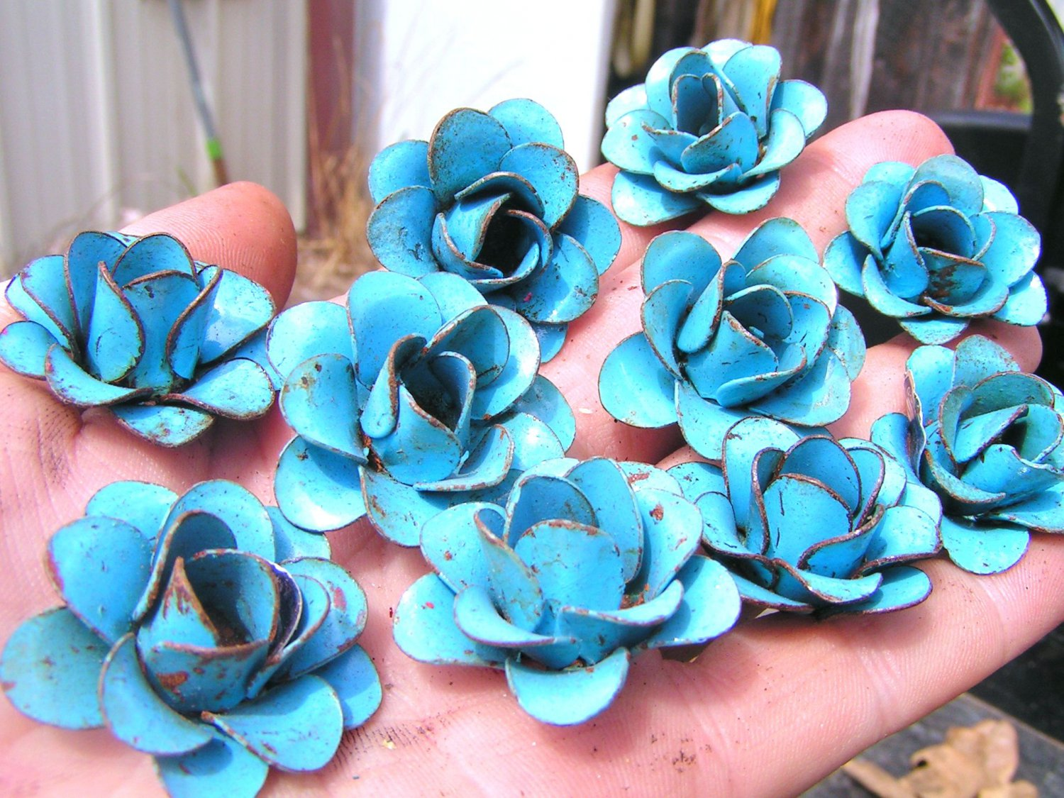 10 metal Blue roses, flowers for accents, embellishments, crafting, woodworking, arrangements