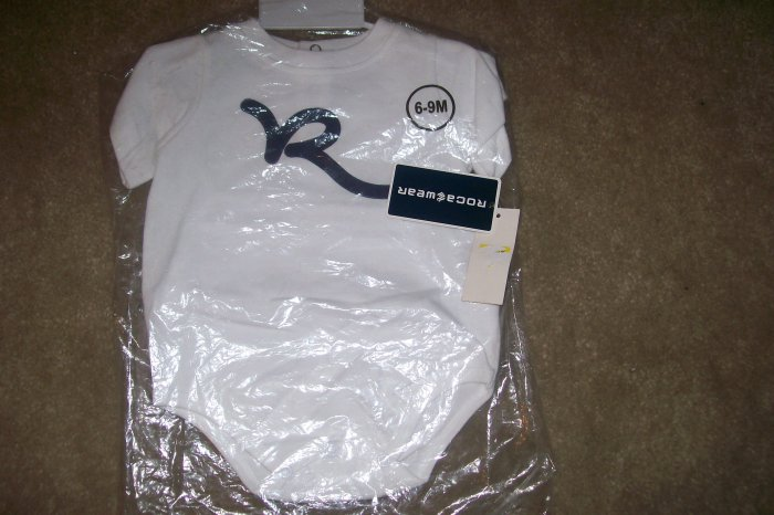 NWT ROCAWEAR ONESIE..WORN 2 WAYS SZ. 0/6MO..2008 LOGO! WILL  BE ON SALE 2 MORE WEEKS..THATS  IT!