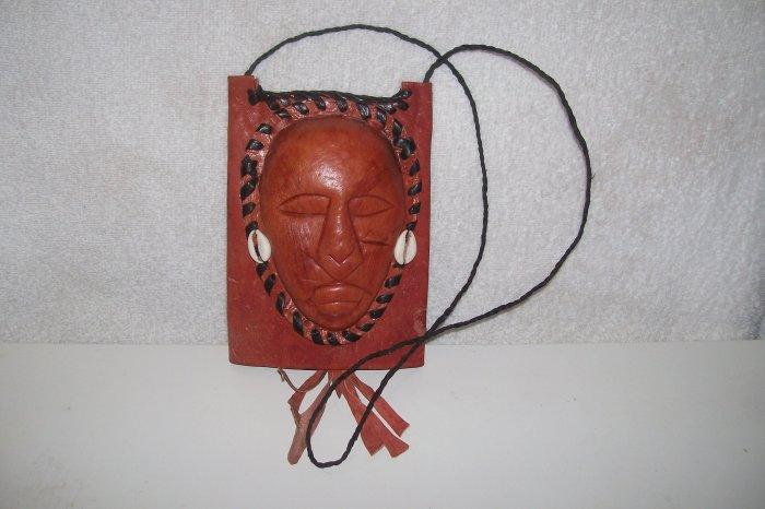 AUTHENTIC WEST AFRICAN MASK NECK PURSE