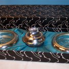 Antique Table Lighter and Two Ashtray Set
