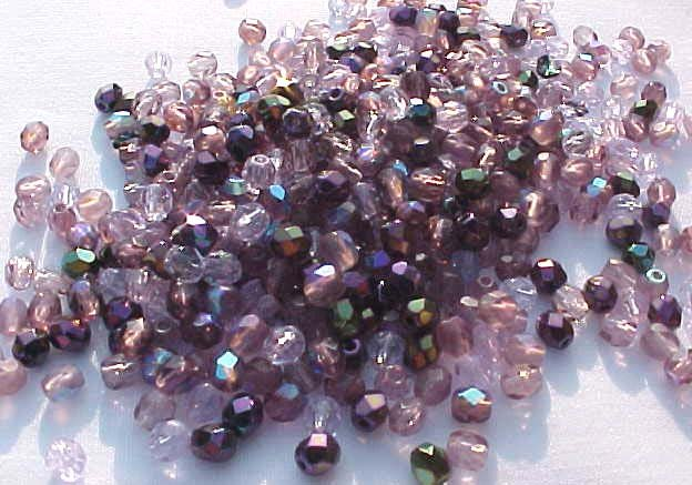 Vintage Purples Mix Fire Polish Czech Glass Beads 3mm