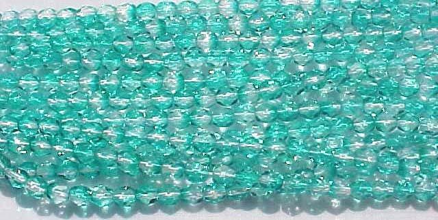 Vintage 2 Tone Green Fire Polish Czech Glass Beads 4mm