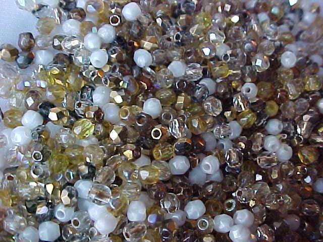 Vintage Brown Gold Mix Fire Polish Czech Glass Beads 3mm