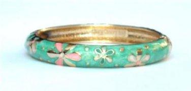 Hawaiian Style Light Green with Flowers Cloisonne Bracelet