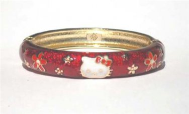 "Hello Kitty Style Cloisonne Ruby White Gold Small Bracelet Bangle Kid Child 6"""
