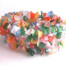 Muli Rainbow Color Cats Eye Glass Chip Stretch Bead Bracelet 6""