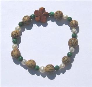 "Hawaiian Style Stretch Wood Plumeria, Buri Beads Pearls Malachite Bracelet 7.5"""