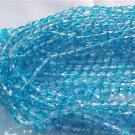 Vintage 2 Tone Aqua/Clear Fire Polish Czech Glass Beads 4mm