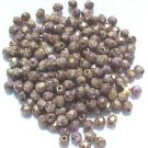 Vintage Copper Amethyst Fire Polish Czech Glass Bead 4mm