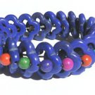 Dyed Turquoise Stretch Purple Blue Flower Colorful Beads Bracelet
