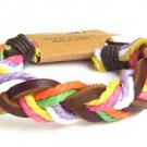 Hawaiian Jewelry Surfer Braid Bracelet Ankle Brown Leather Rainbow Jute
