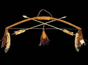 Native American Indian Antiqued Antler Bow and Arrows