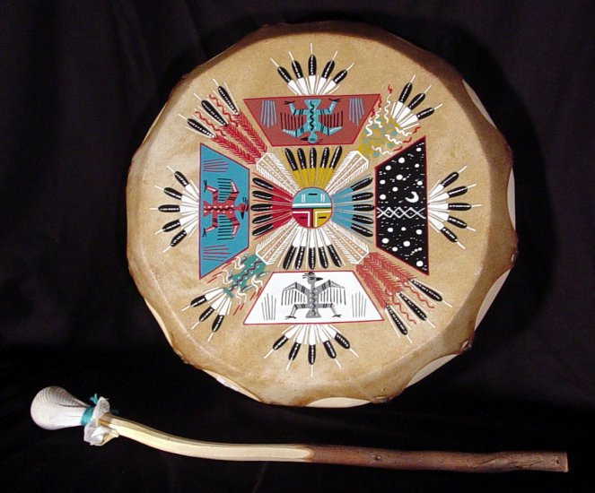 Native American Indian Hand-Painted Wood Drum